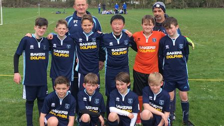 Weston Crusaders under-12s with their new kit from Bakers Dolphin.