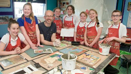 Year five pupils with David Bowers of Mosaic Madness.