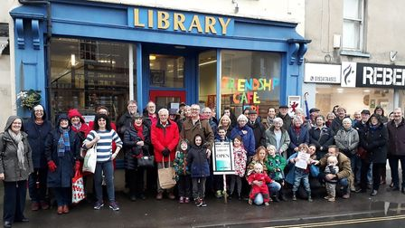 People protesting the closure of Cheddar Library.