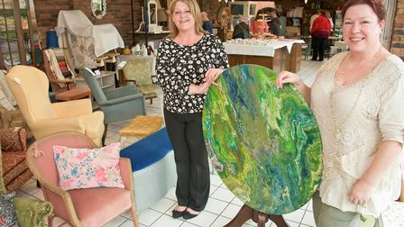 Tracey Coupland and Tracy Gulacsi in their new upcycled furniture business, the Artisian Centre.