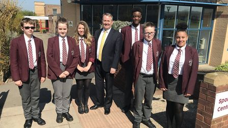 MP Dr Liam Fox with students from St Katherine's School