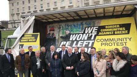 Border Communities Against Brexit launch a new billboard at Stormont and announce a day of protest o