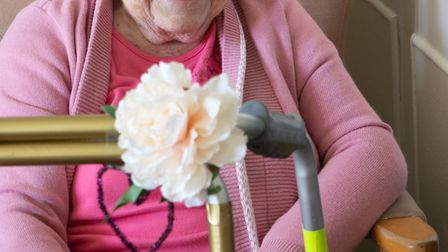 Betty Collins and her zimmer frame. Picture: Sue Green