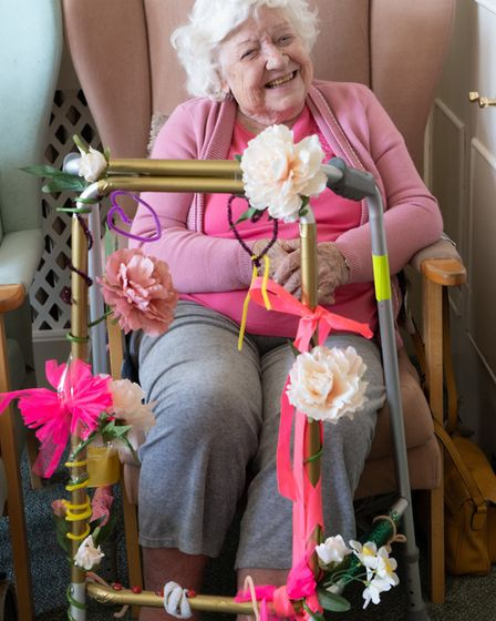 Betty Collins with her zimmer frame. Picture: Sue Green