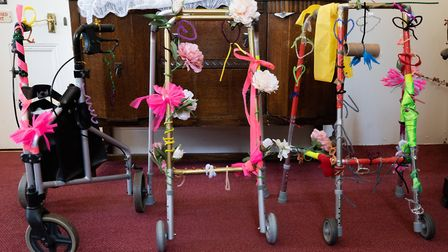 Three completed zimmer frames. Picture: Sue Green