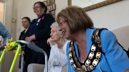 Weston Mayor Jos Holder with care home residents. Picture: Sue Green