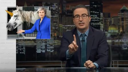 John Oliver: 'Brexiteers promised unicorns - May offered a horse with ice cream on its head'. Photog