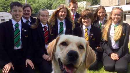 Bonnie the dog with pupils from Clevedon School. Picture: Shane Dean