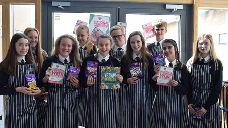 Winning students who took part in the vegetarian bake-off.