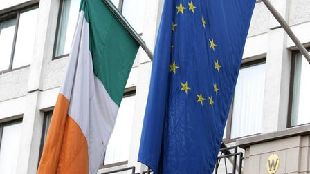 Irish and European flags hang from the Westbury Hotel in Dublin. Photograph: Niall Carson/PA.