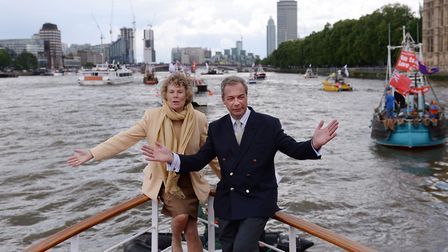 Ukip leader Nigel Farage and Kate Hoey on board a boat taking part in a Fishing for Leave pro-Brexit