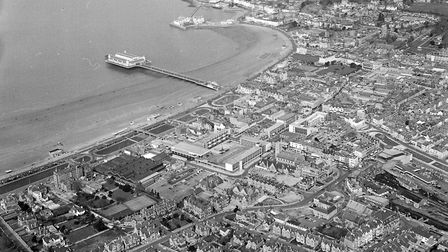 In this aerial view of Weston, taken by a Mercury photographer, Dolphin Square and other new develop