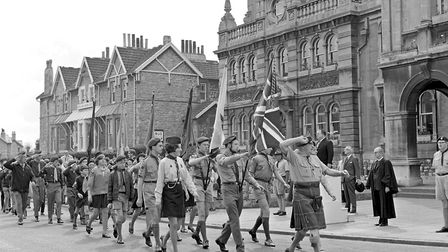 Weston-super-Mare Scouts, Cubs, Venture Scouts and Guides marching past the Town Hall during the ann