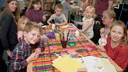 Kids crafts session at Congresbury library, in Station Road.