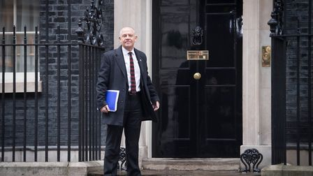 Tim Roache of the GMB arrives at Downing Street for Brexit talks. Photograph: Stefan Rousseau/PA.