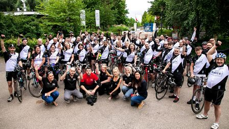 The 46-strong team cycled from Amsterdam to Bristol.