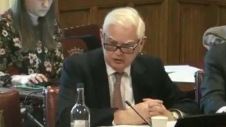 Norman Lamont clashes with the govenor of the Bank of England Mark Carney. Photograph: Parliament TV