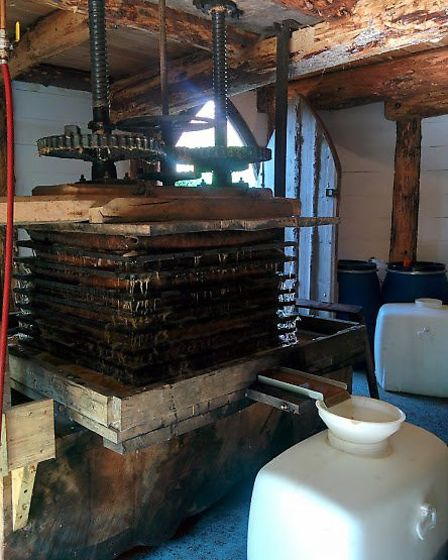 Barley Wood Orchards apple-press in action. Picture: Barley Wood Orchard