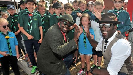 Marvin and Dennis with young scouts. Picture: Jeremy Long