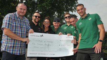 Foundations in Football receive an award for £500 from @Worle. Picture: Jeremy Long