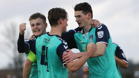 Jake Lee (right) celebrates Weston's second goal. Picture: Will.T.Photography