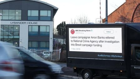 A mobile billboard created by Led By Donkeys containing a tweet about Arron Banks. Photograph: Led B