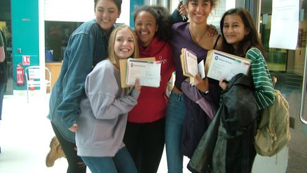 Excited students from Nailsea School picking up their A-level results.