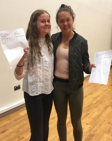 Jasmine Knapman and Esther Leong at Backwell School's A-level results day.