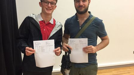 Huw Evans and Luke Barratt at Backwell School's A-level results day.