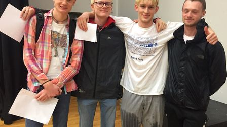 Gabriel Cameron, Tom Slade, Enzo Joly and Nathan Stevenson at Backwell School's A-level results day.