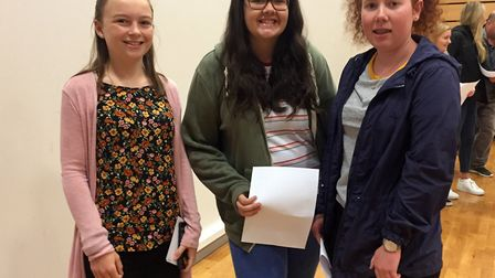 Ellen Ladds, Rachel Bailey and Anna Bassett at Backwell School's A-level results day.