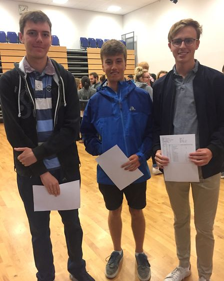 Harry Talbot, Joel Curtis and Matthew Robert at Backwell School's A-level results day.