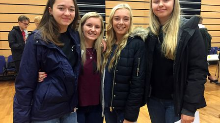 Backwell School students on A-level results day.