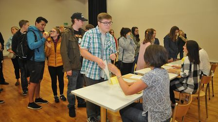Backwell School A-level results day. Picture: Jeremy Long