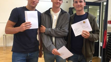 Richard Anthony, Kit Miller ands Billy Blackall at at Clevedon School A-level results day.