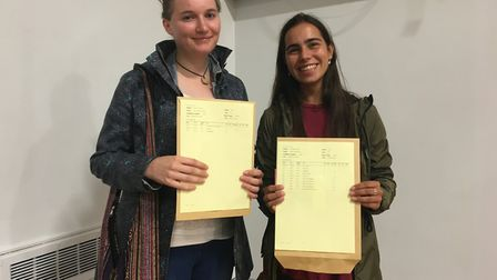 Skye Frewin and Oona Shah, both 18, are happy to have their A-level results.