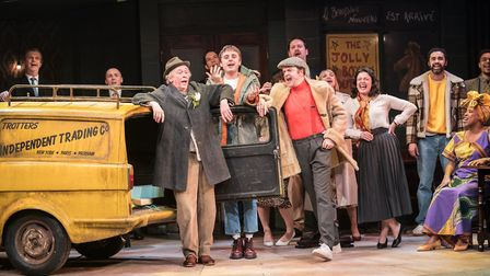 Paul Whitehouse as Grandad, with Tom Bennett as Del Boy and Ryan Hutton as Rodney in the musical ada