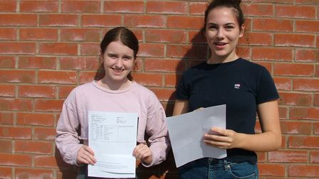 Students from Backwell School picking up their GCSE results.