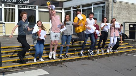Clevedon School students are jumping with joy after getting their GCSE results. Picture: Eleanor You