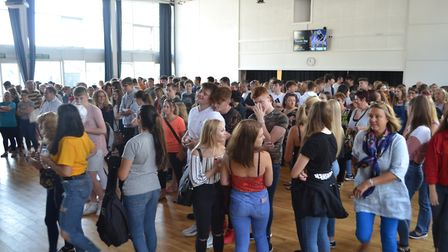 Students and parents gathered in the hall to collect results. Picture: Eleanor Young