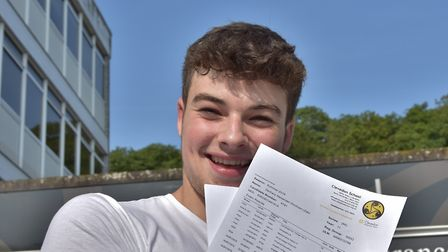 One very happy Clevedon School student shows off his results. Picture: Mike Thie
