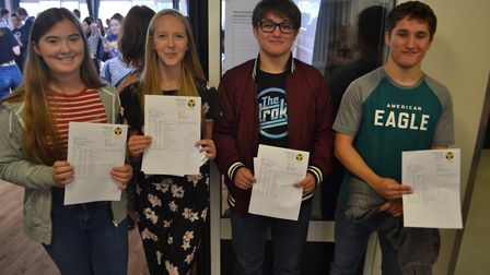 Clevedon School students with their results. Picture: Eleanor Young