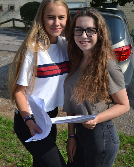 Emily Craig and Alicia Crees with their GCSE results. Picture: Eleanor Young