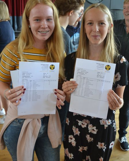 Sian Minor and Isabel Bartlett with their GCSE results. Picture: Eleanor Young