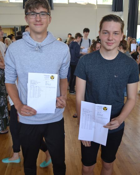 Sam Lewis and Harry Jordan with their results. Picture: Eleanor Young