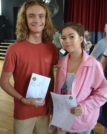 Oli Carlier and Scarlett Cherry with their results. Picture: Eleanor Young