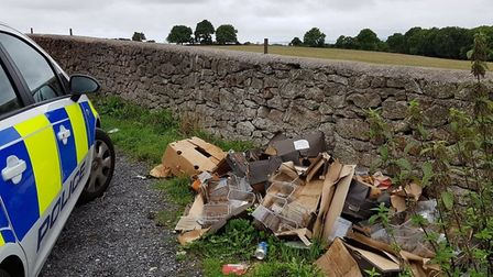 Rotten food and plastic containers were among the waste found in Bleadon. Picture: Avon and Somerset