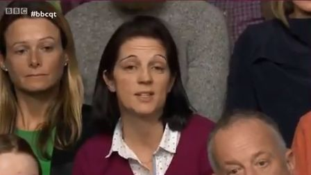 Dr Dani Loughran - the lady with the maroon jumper on BBC Question Time. Photograph: BBC.