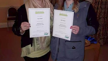 Fiona Pinkard with her daughter Chloe at their counselling course graduation ceremony.