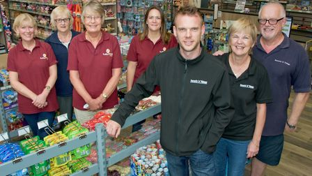 Chris Richards with parents and staff at Sweets 'n' Things at the old Worle library building in The
